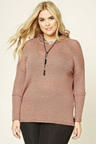 Forever 21 FOREVER 21+ Plus Size Hooded Striped Top