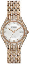 Citizen Eco-Drive Silhouette Womens Crystal-Accent Rose-Tone Stainless Steel Bracelet Watch EW2323-57A
