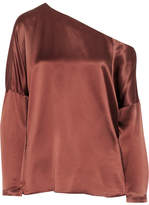 Tibi Asymmetric Silk-satin Top - Brown