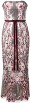 Marchesa floral sequin long dress