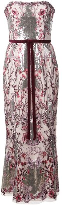 Marchesa Notte Floral Sequin Long Dress