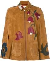 RED Valentino bird & flower detailed cape