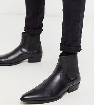 ASOS DESIGN Wide Fit stacked heel western chelsea boots in black faux leather