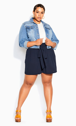 City Chic Tropical Tie Short - navy