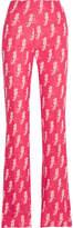 Miu Miu Jacquard-knit Wool-blend Flared Pants - Pink