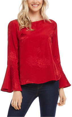 Karen Kane Jacquard Bell-Sleeve Blouse