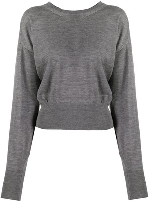 Semi-Couture Fine-Knit Cropped Jumper