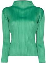 Pleats Please Issey Miyake high-neck plisse blouse