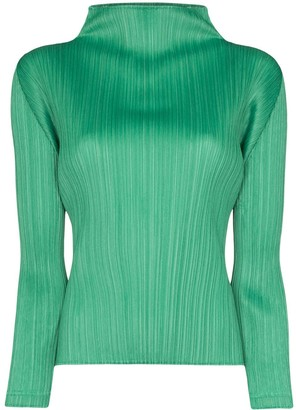 Pleats Please Issey Miyake High-Neck Plisse Blouse