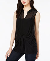 Bar III Tie-Front Illusion Top, Only at Macy's