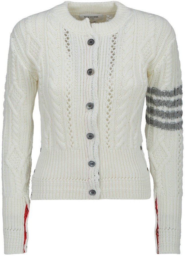 4 Bar Stripe Cable Knit Cardigan