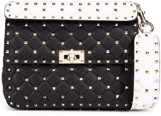 Valentino Rockstud Spike Crossbody Bag in Black & Red & White | FWRD