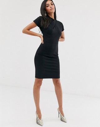 French Connection knotted jersey dress-Black