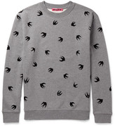 McQ by Alexander McQueen Flocked Loopback Cotton-Jersey Sweatshirt