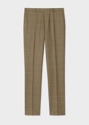 Men's Slim-Fit Brown Houndstooth Wool Trousers