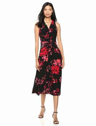 Chaps Women's Floral Printed midi Length Sleevless Dress