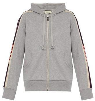 Gucci Logo Tape Zip Through Hooded Cotton Sweatshirt - Mens - Light Grey