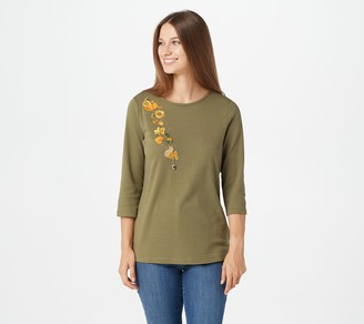 Quacker Factory Embroidered 3/4-Sleeve Top with Charm