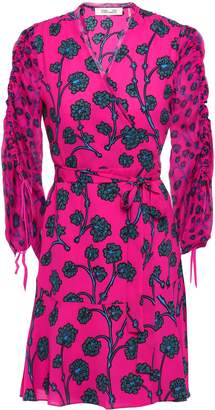 Diane von Furstenberg Gathered Printed Crepe And Georgette Mini Wrap Dress