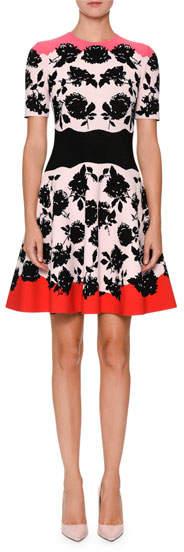 Alexander McQueen Short-Sleeve Rose Knit Flare Dress