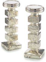 John-Richard Collection Stacked Cube Mercury Glass Candlesticks (Set of 2)