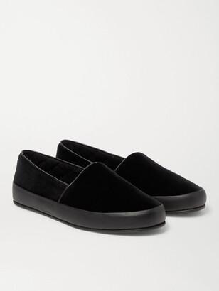 Mulo Leather-Trimmed Velvet Slippers