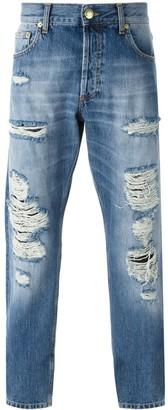 Alexander McQueen Distressed Straight Leg Jeans