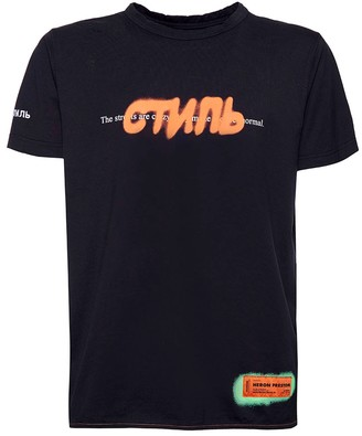 Heron Preston Contrasting Graffiti Logo T-shirt Black