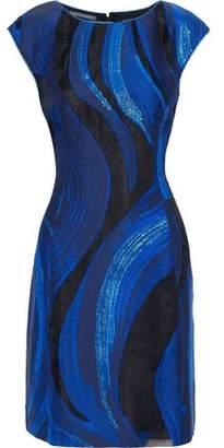Alberta Ferretti Metallic Fil Coupe Organza Mini Dress