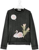 Stella McCartney teen Swan embroidered sweatshirt