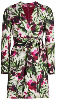 Badgley Mischka Floral Wrap Suit Dress