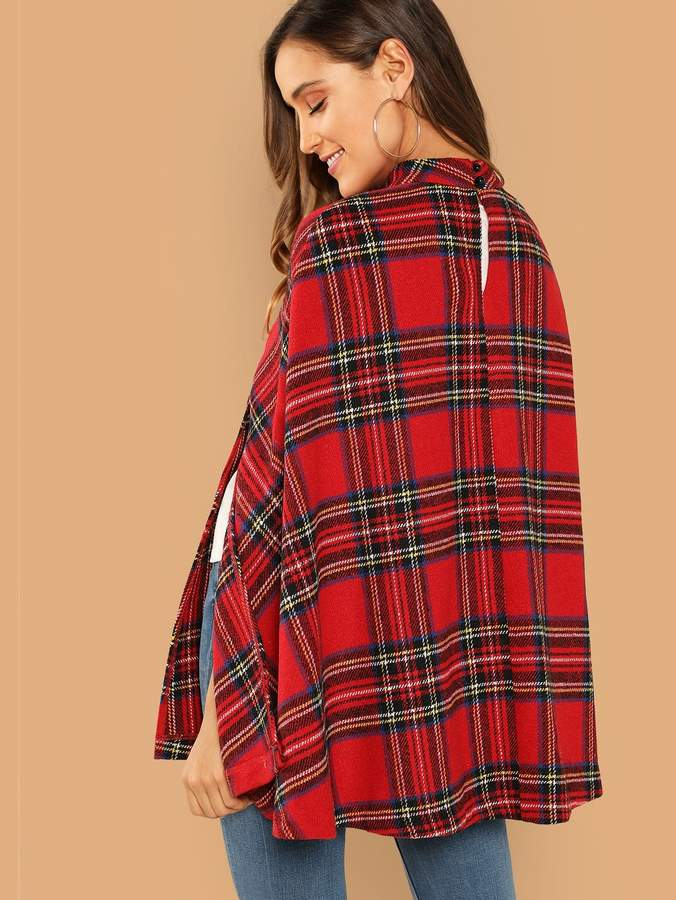 Thumbnail for your product : Shein Double Button Plaid Cape Coat