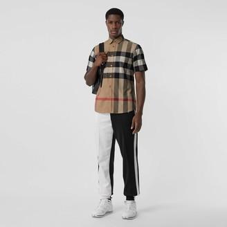 Burberry Short-seeve Check Stretch Cotton Popin Shirt