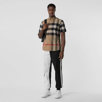 Burberry Short-sleeve Check Stretch Cotton Poplin Shirt