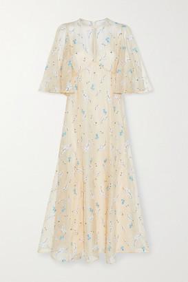 Erdem Alcie Embroidered Silk-organza Midi Dress - Cream