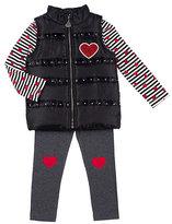 Betsey Johnson Sweetheart 4-6x Three Pc Puffy Vest Set