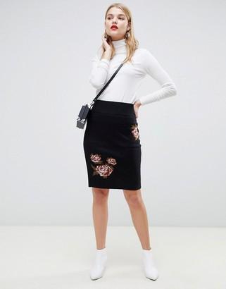 Vero Moda floral printed mini skirt in black
