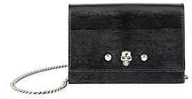 Alexander McQueen Women's Skull & Studs Lizard-Embossed Leather Shoulder Bag