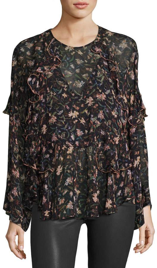 IRO Long-Sleeve Floral-Print Chiffon Top