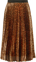 Christopher Kane Pleated Leopard-print Silk-blend Lamé Midi Skirt - Leopard print