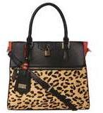 Dorothy Perkins Womens *LYDC Coral Lock Front Tote Bag- Leopard