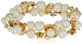 Anne Klein Gold-Tone Pearl Flower Stretch Bracelet