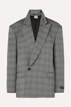 Vetements Oversized Prince Of Wales Checked Woven Blazer - Gray