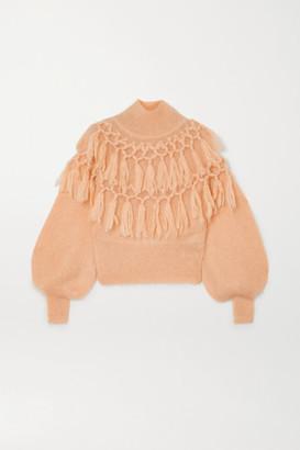 Zimmermann Ladybeetle Tasseled Mohair And Silk-blend Sweater - Cream