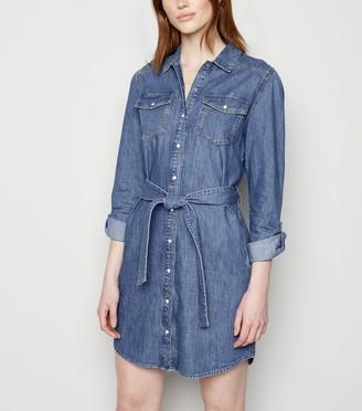 New Look Tall Denim Long Sleeve Shirt Dress