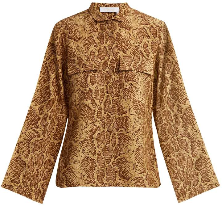 Chloé Patch-pocket python-print silk shirt