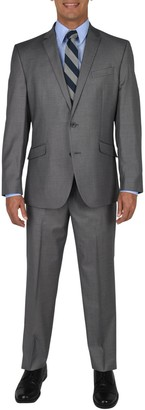 Kenneth Cole Reaction Light Gray Basketweave Two Button Notch Lapel Slim Fit Suit (Big & Tall)