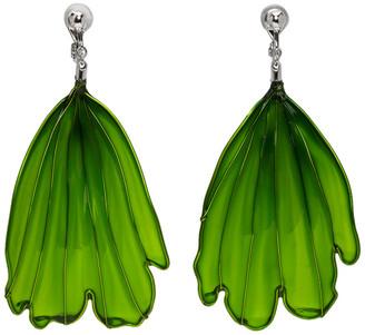 Toga Green Art Petal Drop Earrings