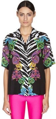Versace Jeans Couture Printed Self-tie Twill Shirt