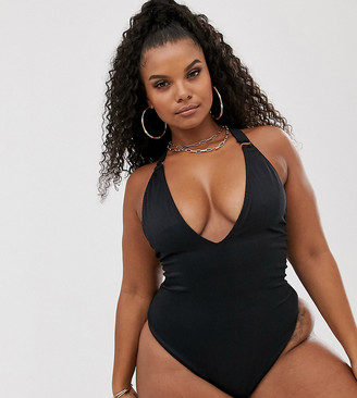 South Beach Curve Exclusive ribbed high leg swimsuit in black